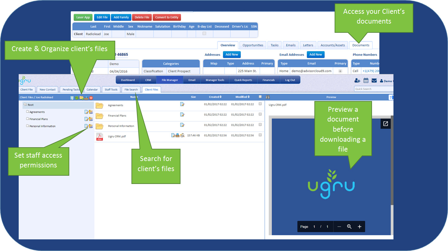UGRU CRM For Financial Advisors Document management